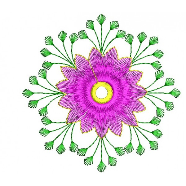 Pink Embroidery Flower Design