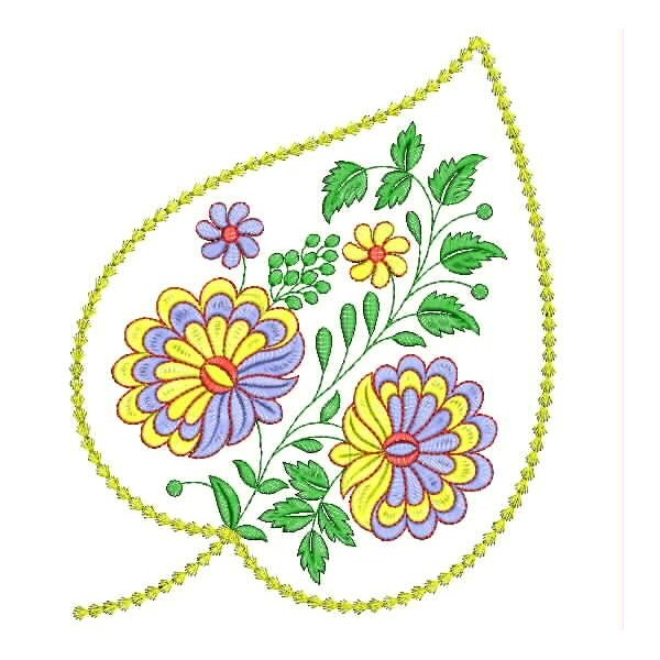 Leaf flower embroidery designs