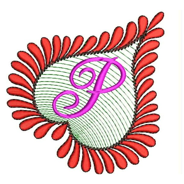 Heart Alphabets P Embroidery Design