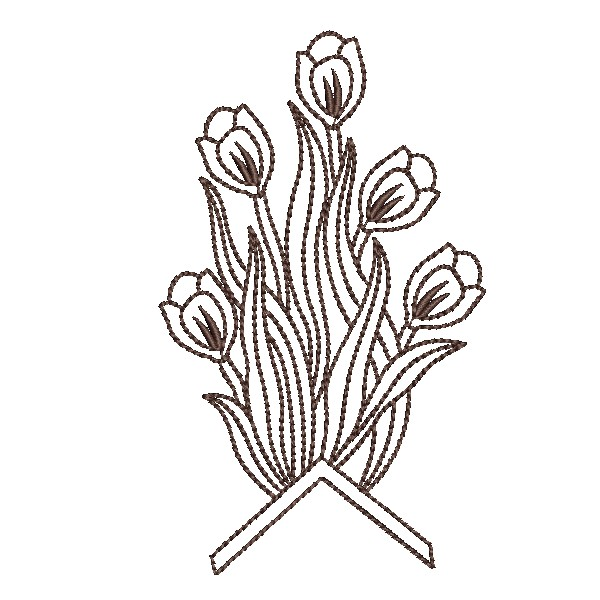 Outline Brown Flower Embroidery Design  EmbroideryShristi