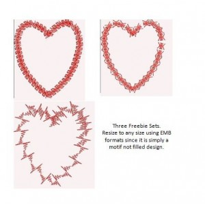 Set of Love Heart Motif Freebie Designs
