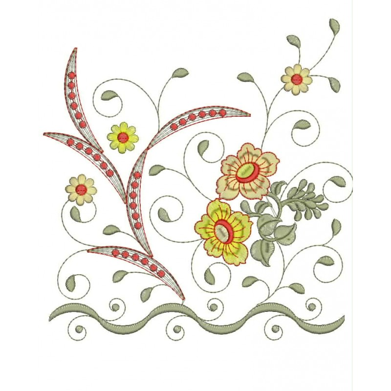 Splitted daman embroidery designs all over design