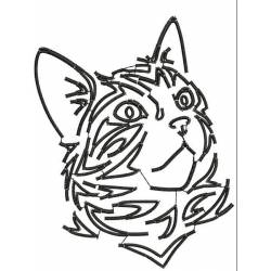Cat Tribal Stain Embroidery Design