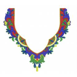 New Colorful Neckline Embroidery Design