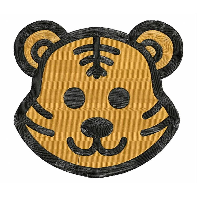 Tiger animal face embroidery design digitizing