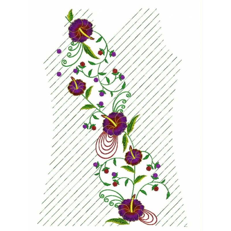 Floral machine embroidery