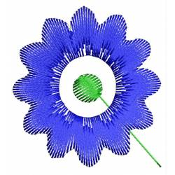 Blue Flower Embroidery Design 2x2