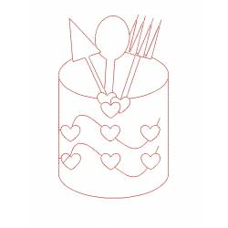 Kitchen Redwork Outline Embroidery Design