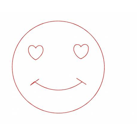 Smiley Love Face Embroidery Design