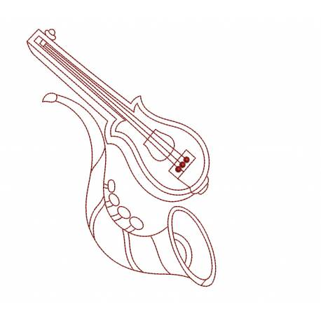 Outline Music Embroidery Design