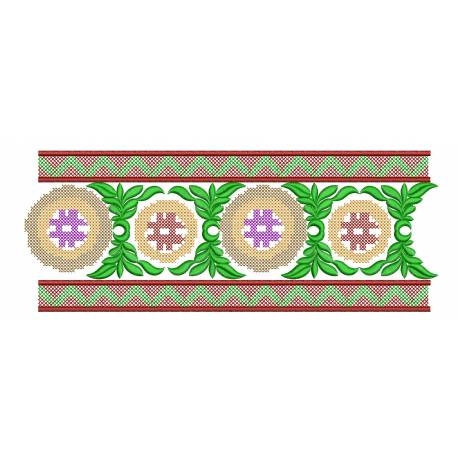 Cross Stitches Border Embroidery Design