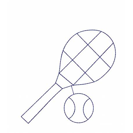Tennis Outline Embroidery Design