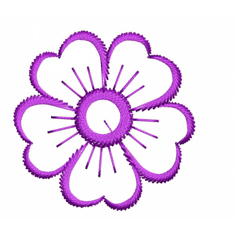 2x2 outline flower embroidery design